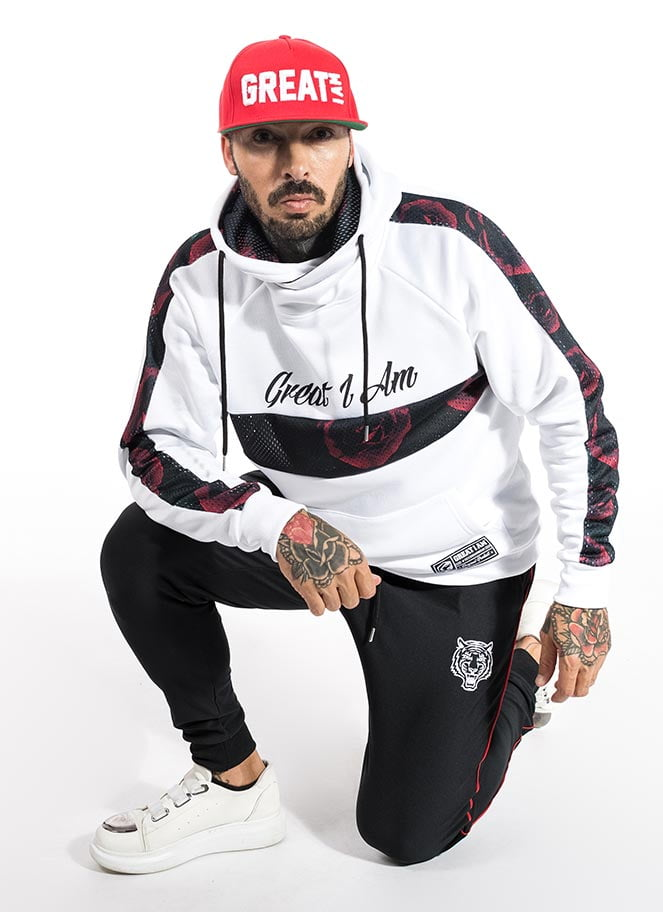 HOODIE WHITE ASPIRE GREATNESS GREAT I AM