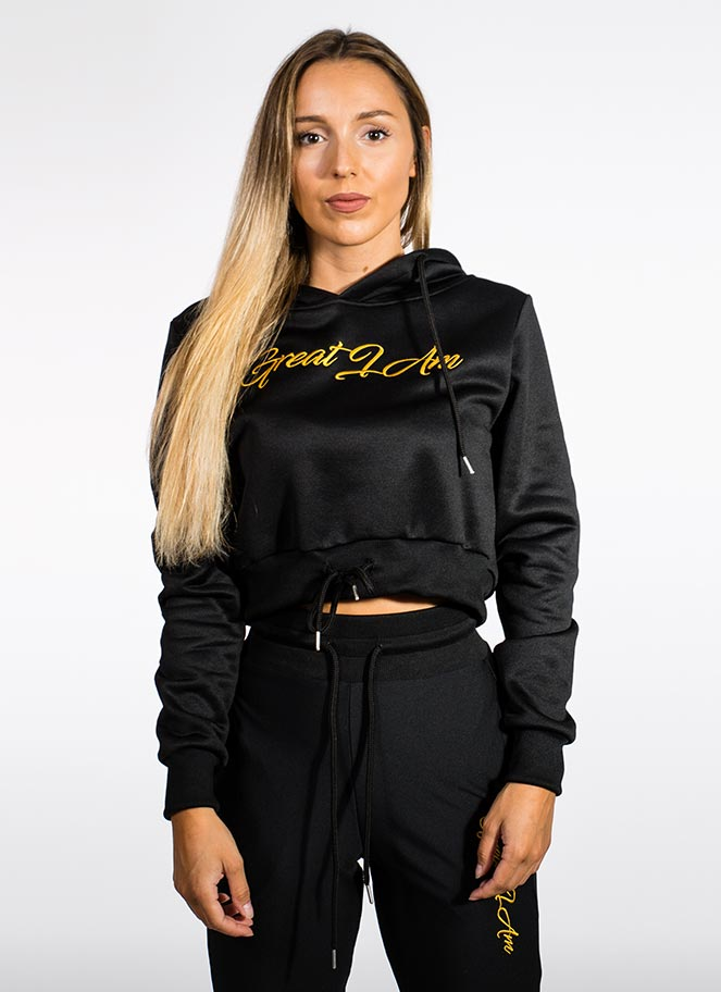 HOODIE CROPPED BLACK GOLD GREAT I AM - Great I Am