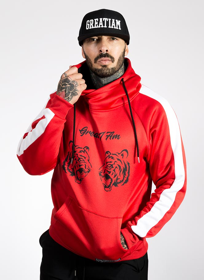 HOODIE TIGER CLASH RED - Great I Am