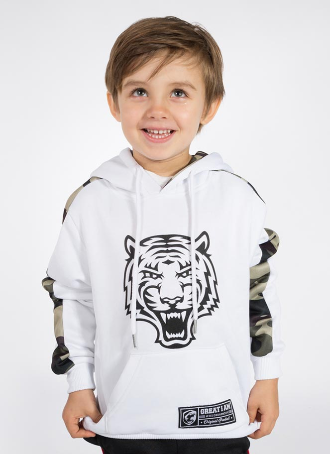 HOODIE KIDS MILITARY WHITE - Great I Am