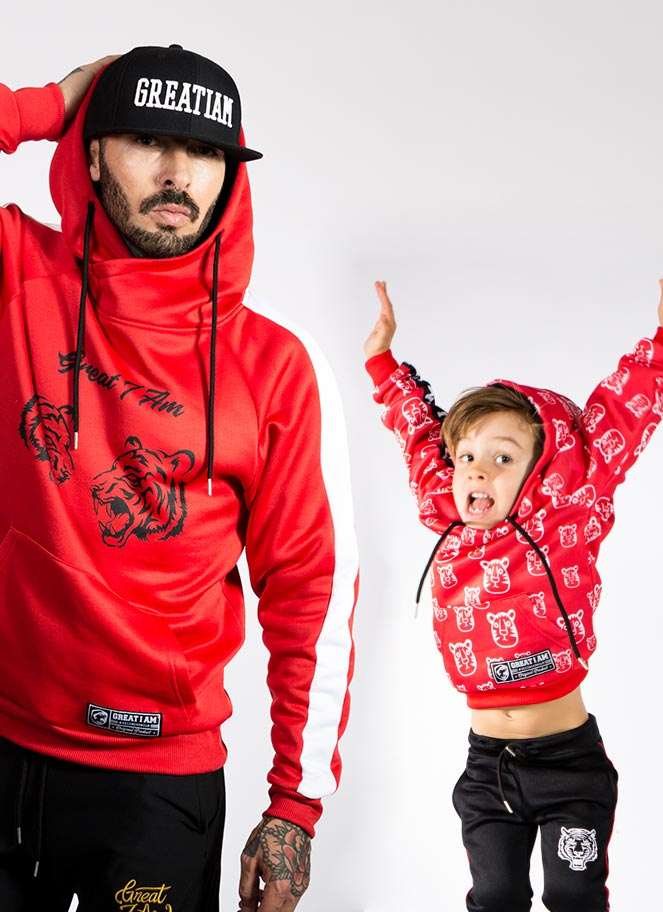 PACK RED HOODIE FATHER AND SON - Great I Am