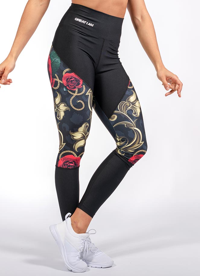 LEGGING HIGH WAIST GOLDEN CHAINS AND ROSES - Great I Am