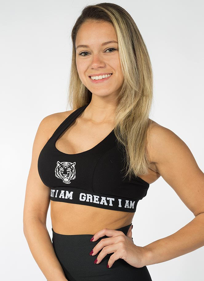 SPORTS BRA LOGO BLACK - Great I Am