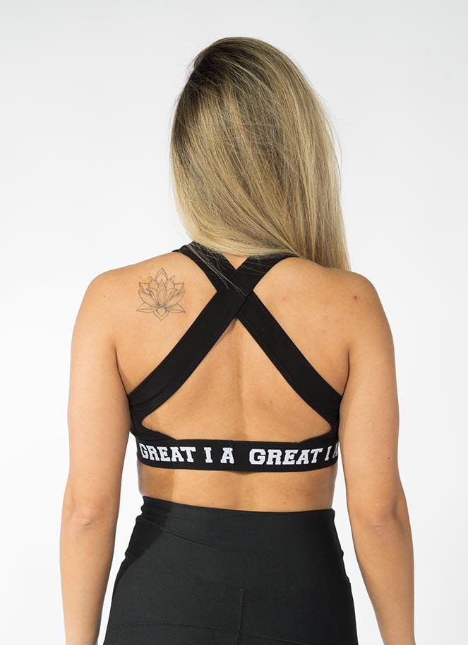 SPORTS BRA LOGO BLACK GREAT I AM - Great I Am