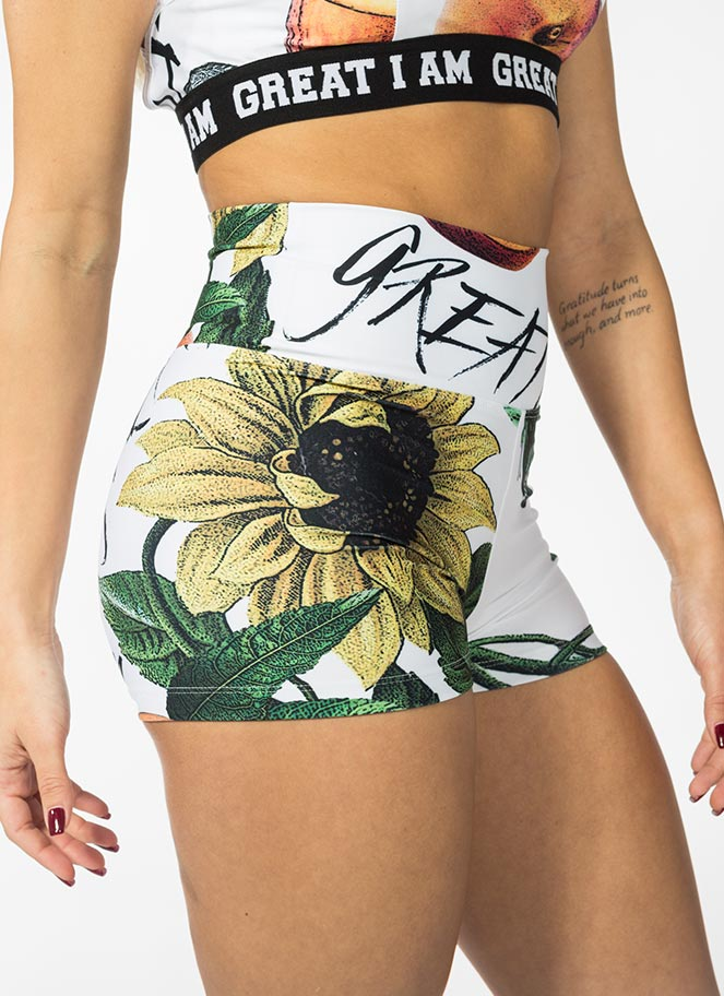 STRETCHY SHORTS SUNFLOWERS - Great I Am