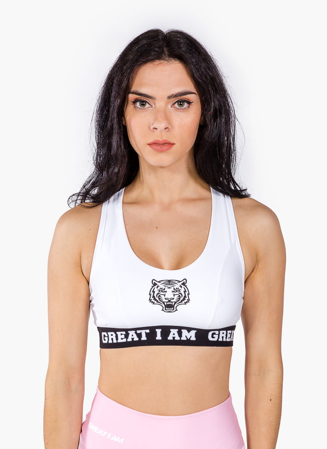 SPORTS BRA LOGO WHITE - Great I Am