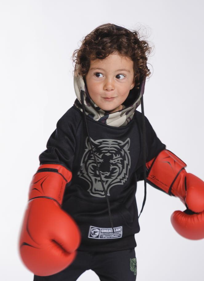 CAMISOLA COM CAPUZ MILITARY TIGER KID - Great I Am
