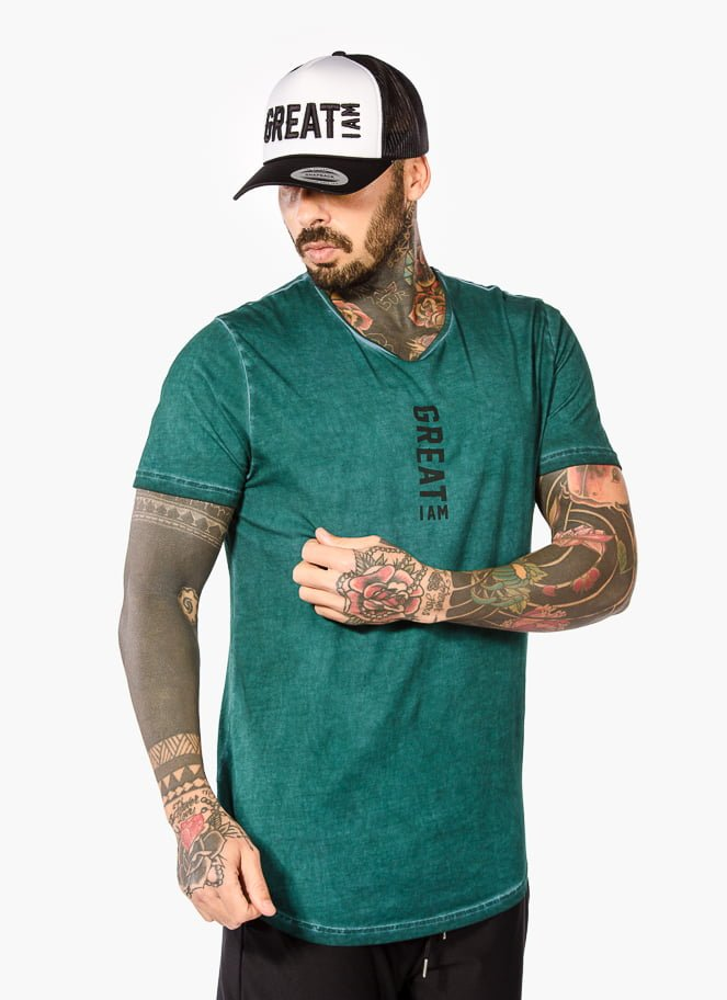 T-SHIRT TAINTED GREEN - Great I Am